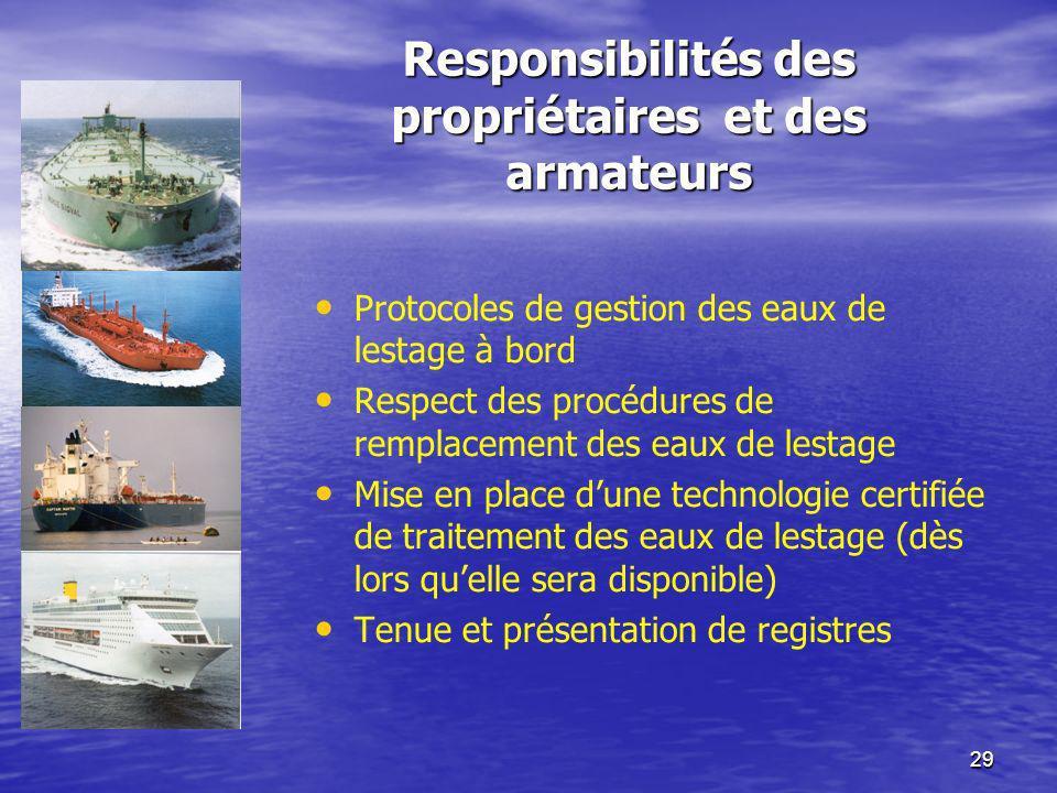 Responsibilités des propriétaires et des armateurs
