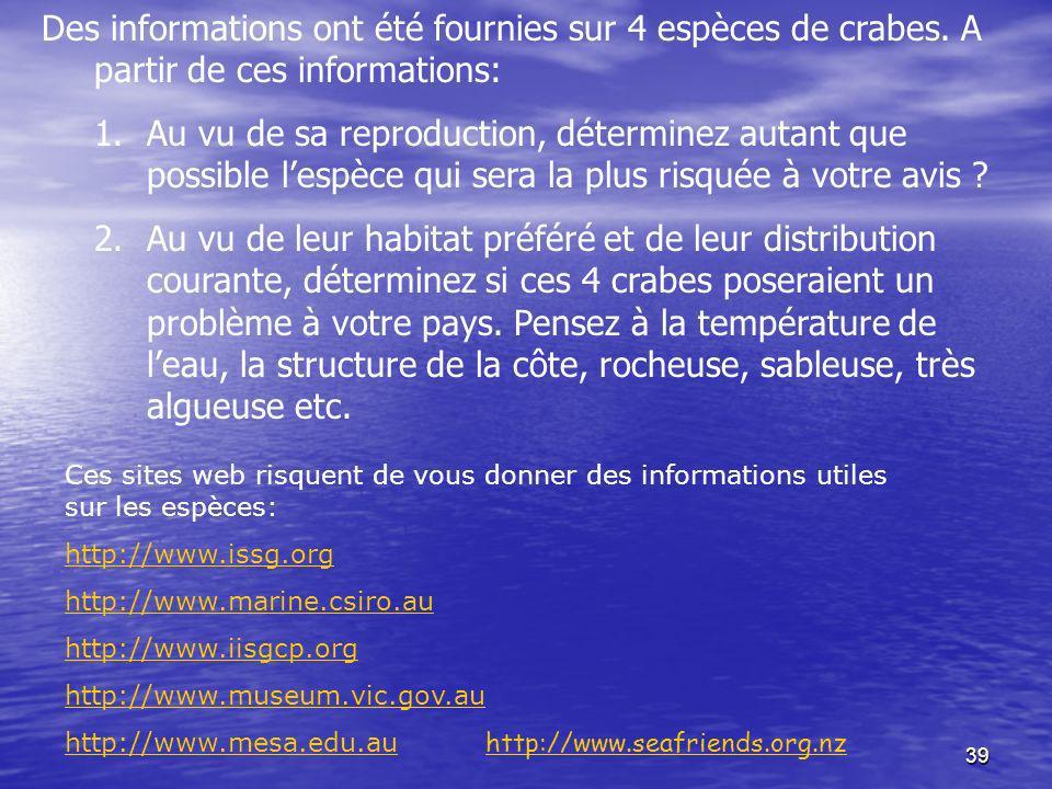 Des informations ont été fournies sur 4 espèces de crabes