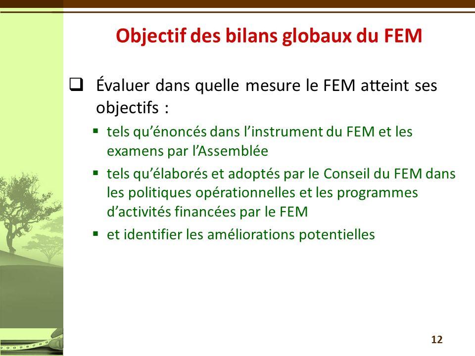 Objectif des bilans globaux du FEM