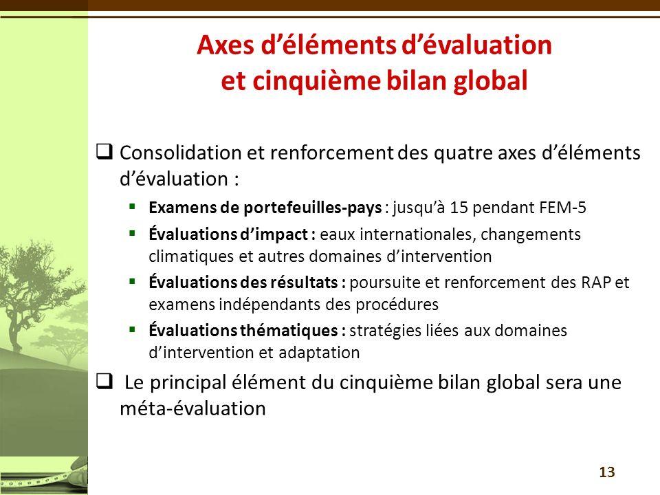 Axes d'éléments d'évaluation et cinquième bilan global