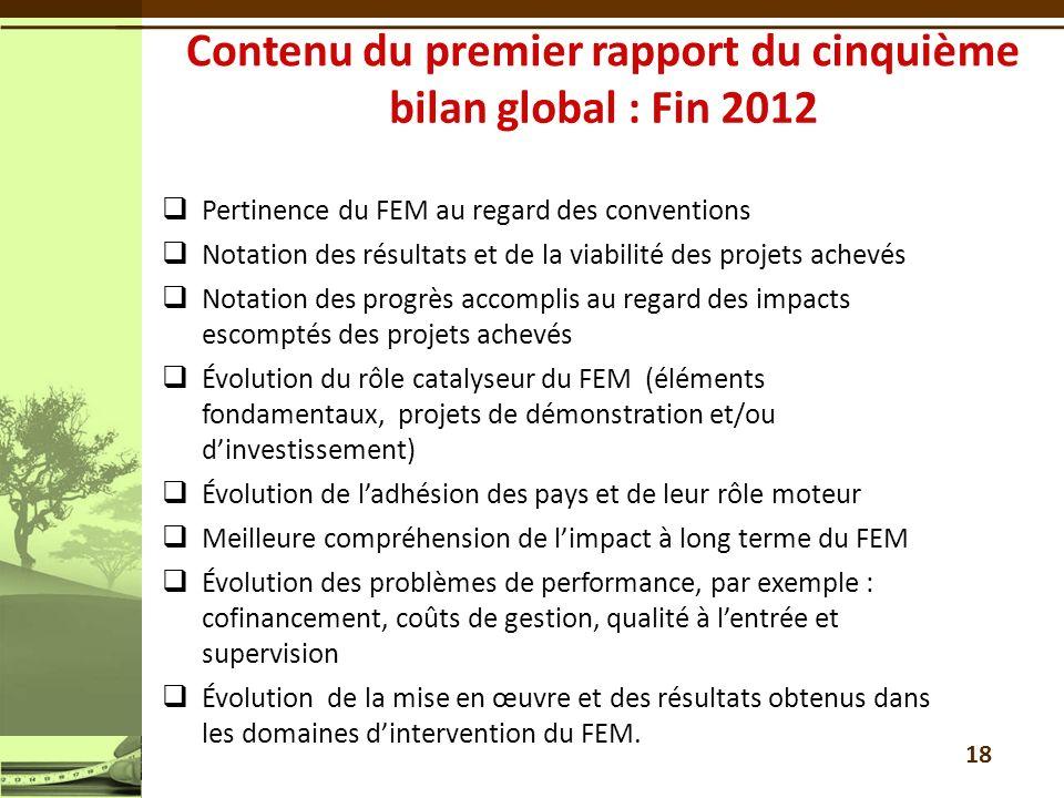 Contenu du premier rapport du cinquième bilan global : Fin 2012