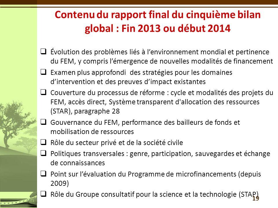 Contenu du rapport final du cinquième bilan global : Fin 2013 ou début 2014