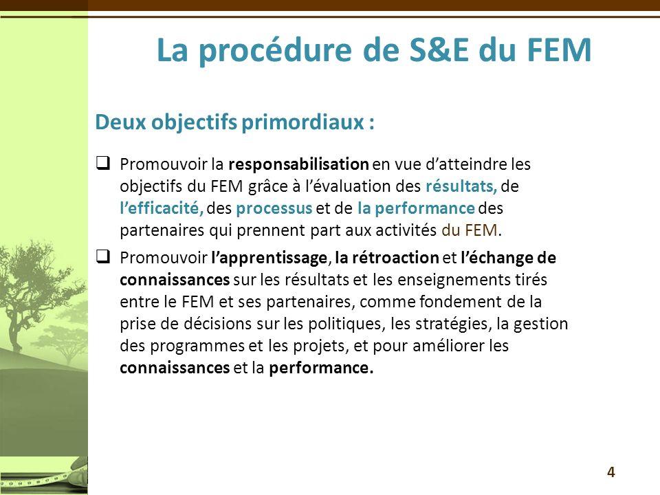 La procédure de S&E du FEM