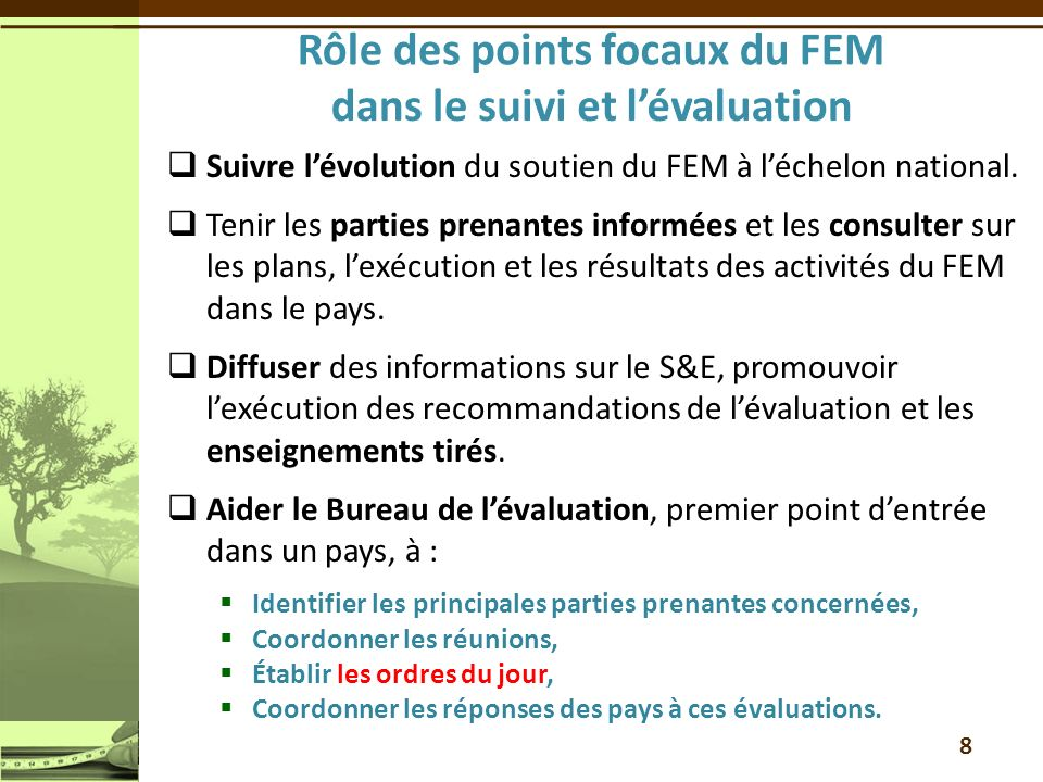 Rôle des points focaux du FEM dans le suivi et l'évaluation