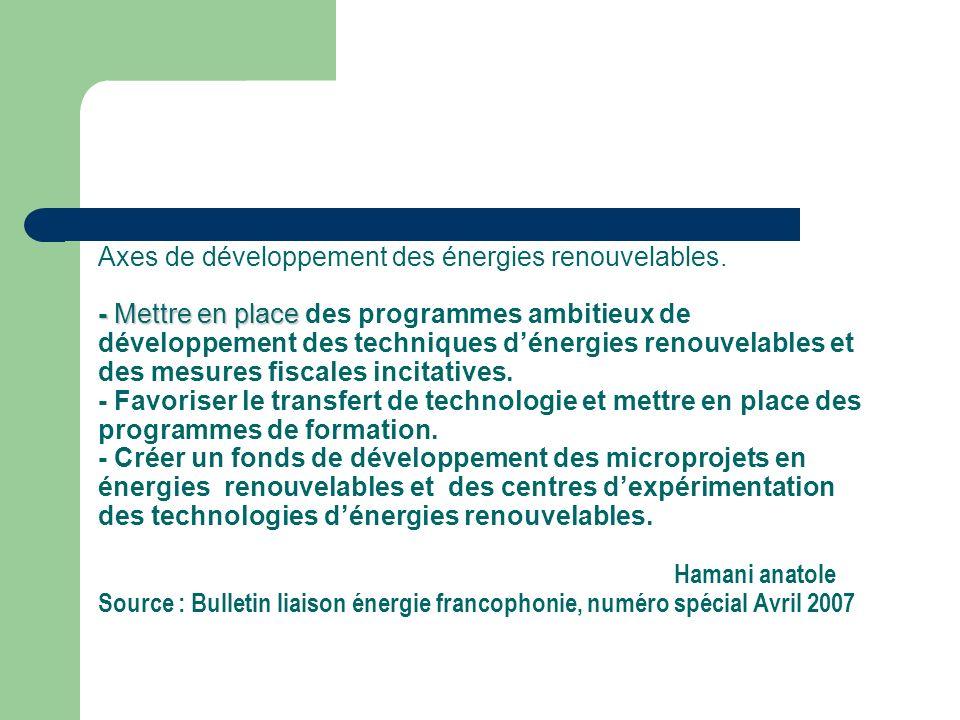 Axes de développement des énergies renouvelables
