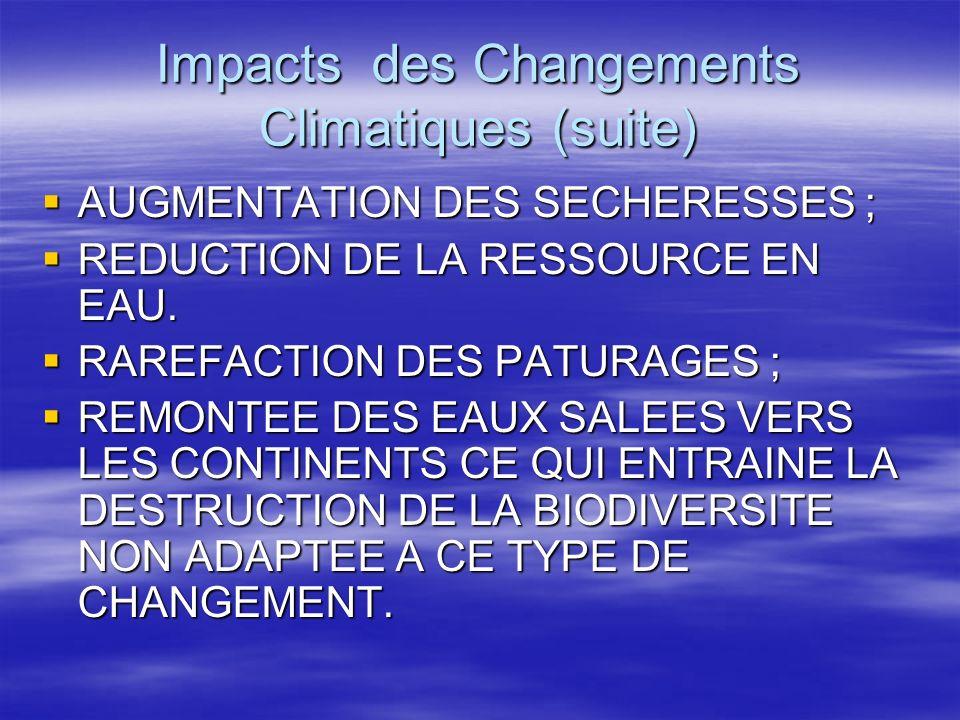 Impacts des Changements Climatiques (suite)