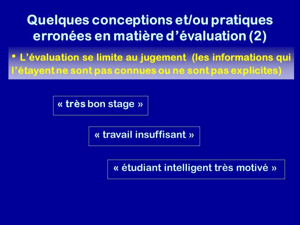 Quelques conceptions et/ou pratiques erronées en matière d'évaluation (2)