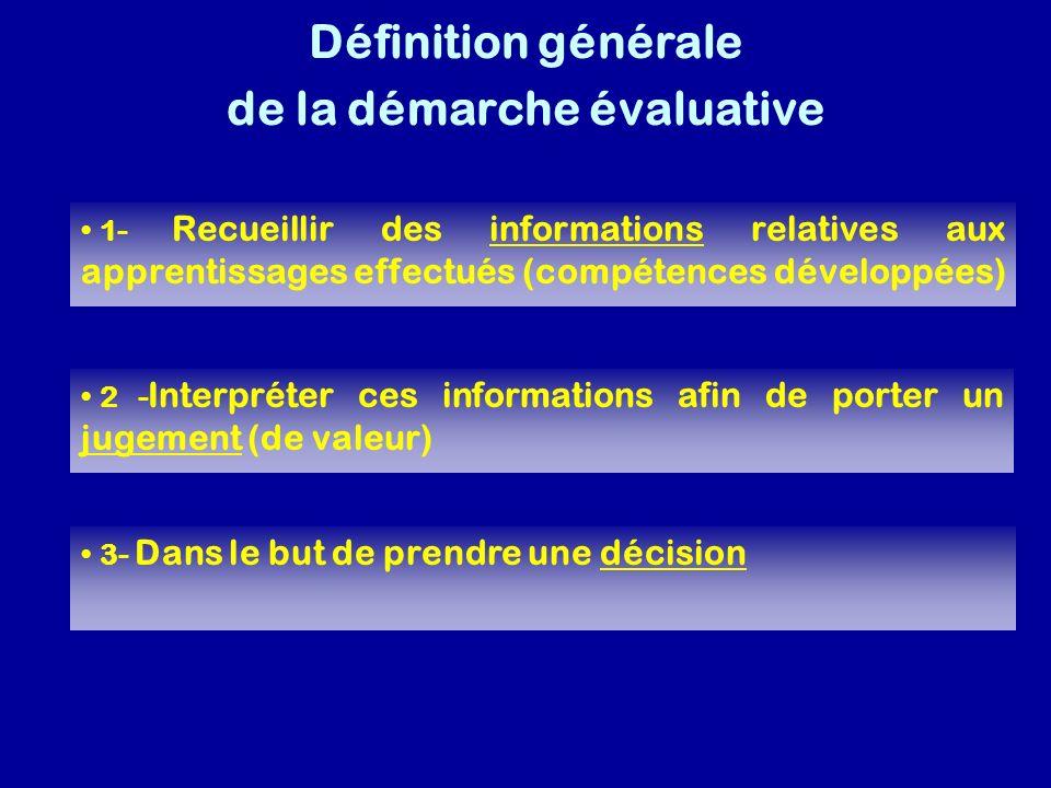 Définition générale de la démarche évaluative