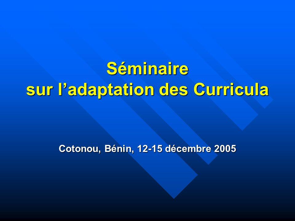Séminaire sur l'adaptation des Curricula