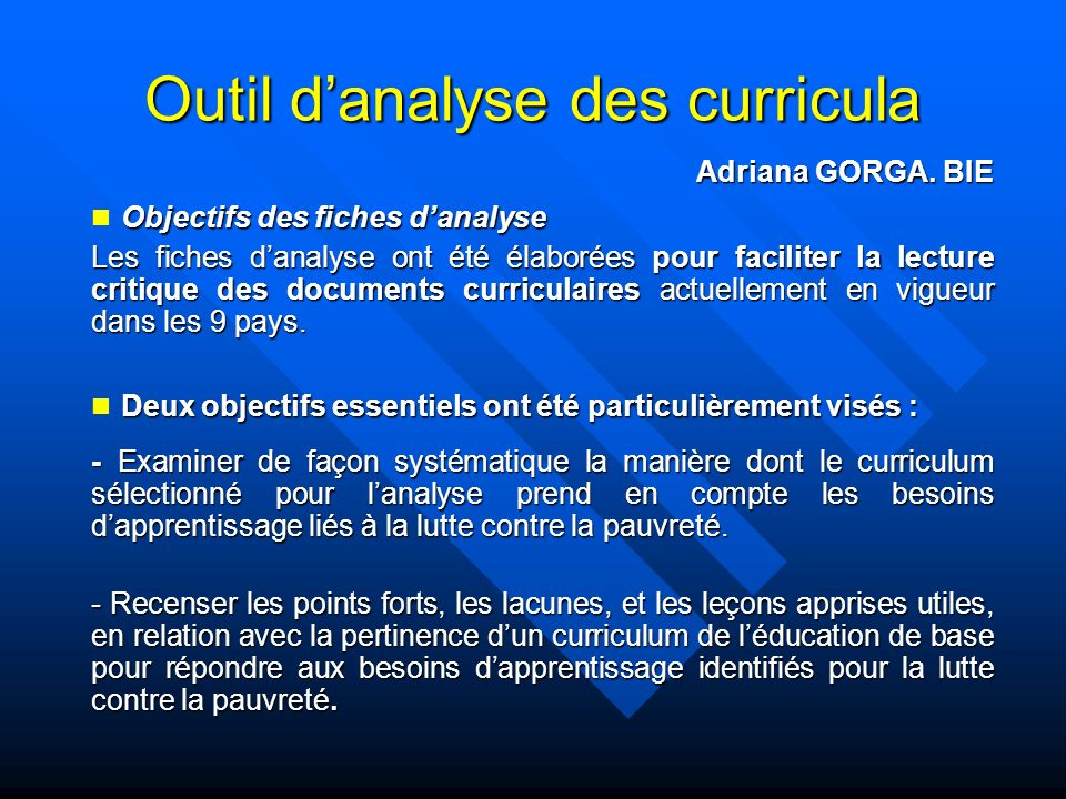 Outil d'analyse des curricula
