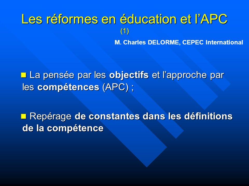 Les réformes en éducation et l'APC (1)