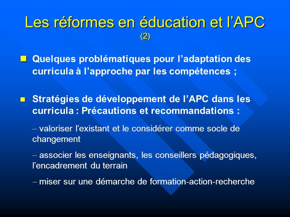 Les réformes en éducation et l'APC (2)
