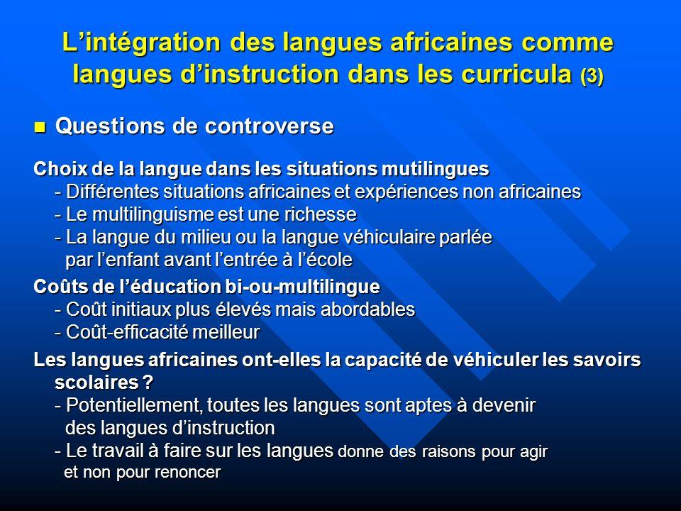 L'intégration des langues africaines comme langues d'instruction dans les curricula (3)