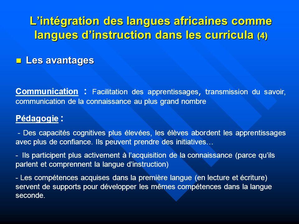 L'intégration des langues africaines comme langues d'instruction dans les curricula (4)