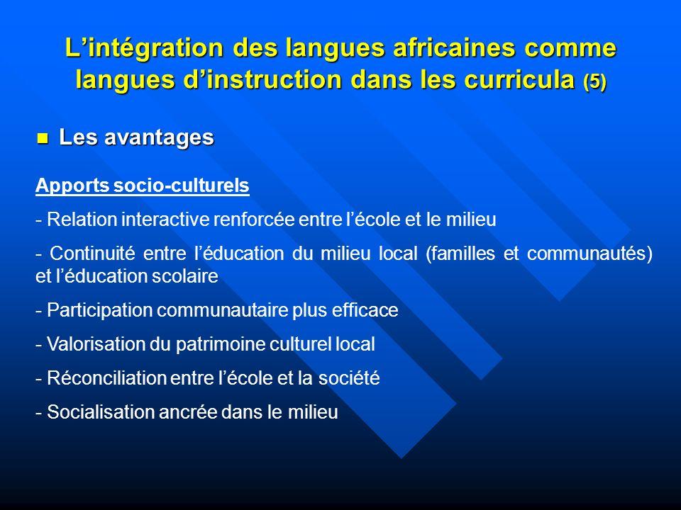 L'intégration des langues africaines comme langues d'instruction dans les curricula (5)