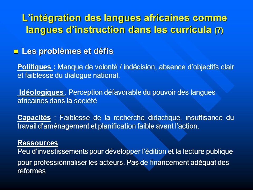L'intégration des langues africaines comme langues d'instruction dans les curricula (7)