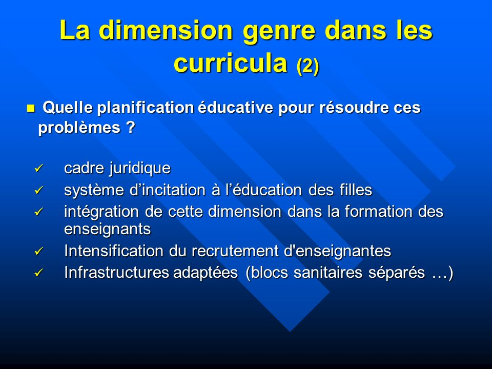 La dimension genre dans les curricula (2)