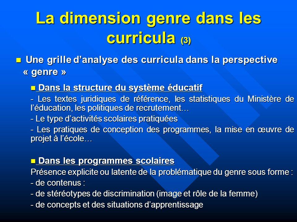 La dimension genre dans les curricula (3)