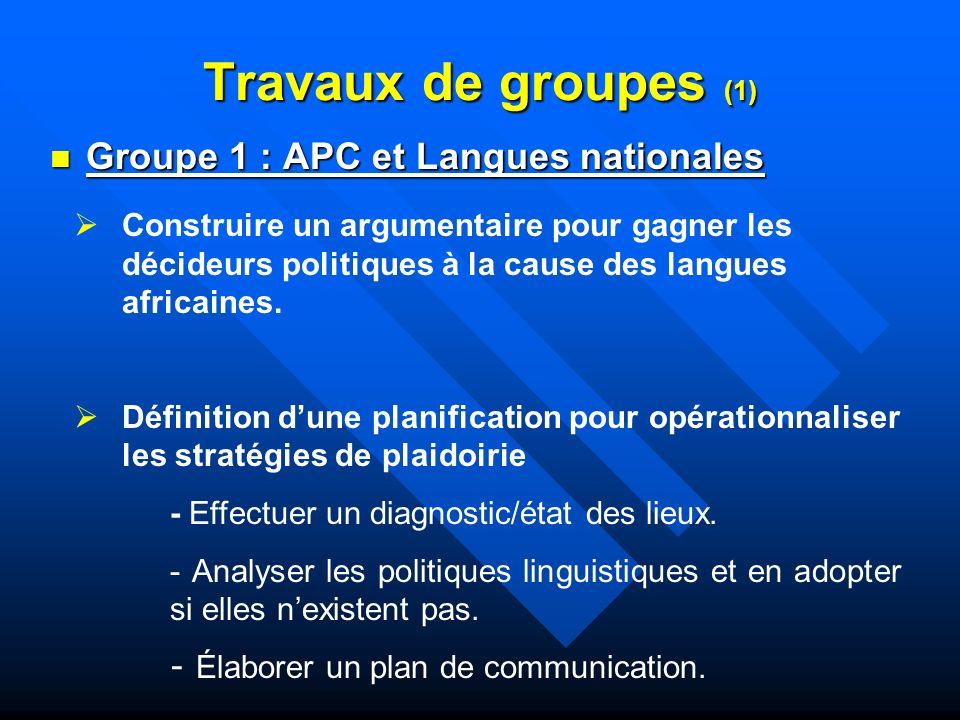 Travaux de groupes (1) Groupe 1 : APC et Langues nationales