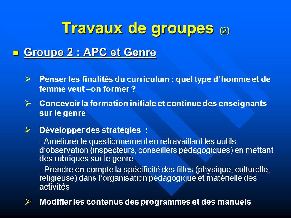 Travaux de groupes (2) Groupe 2 : APC et Genre