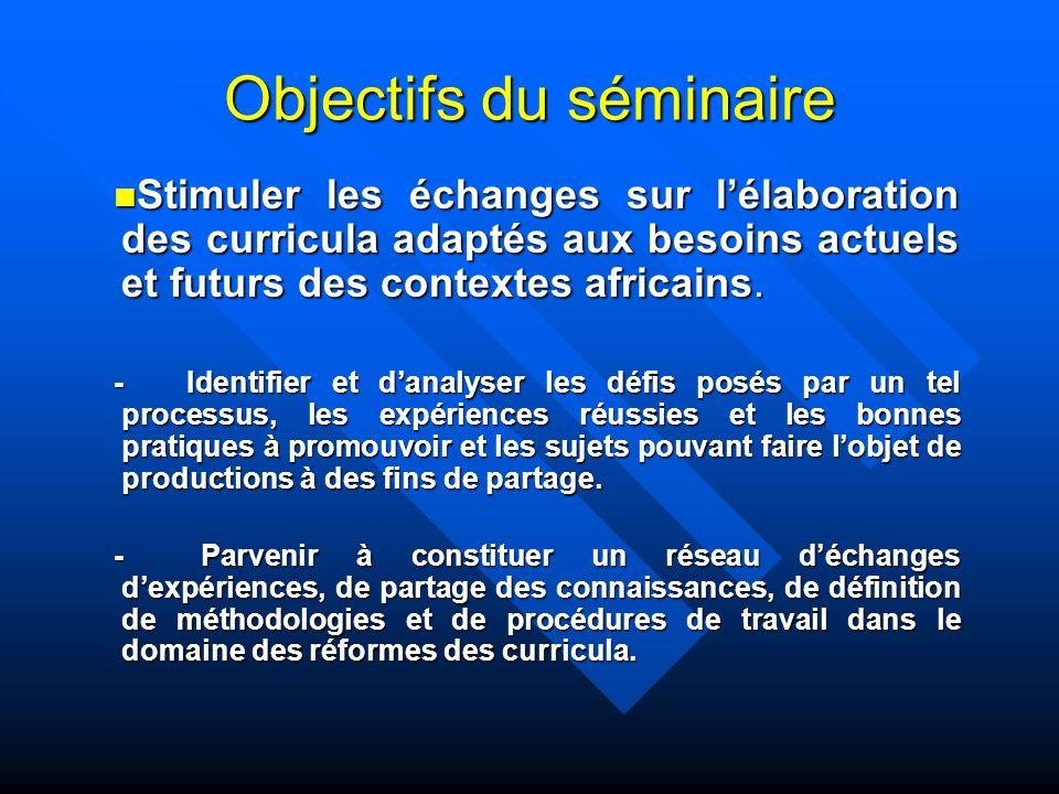 Objectifs du séminaire