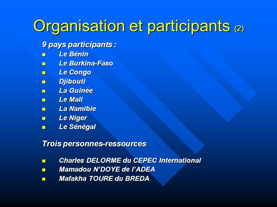 Organisation et participants (2)