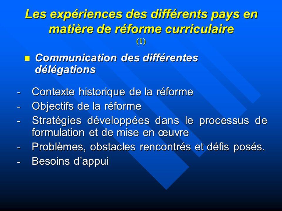 Les expériences des différents pays en matière de réforme curriculaire (1)