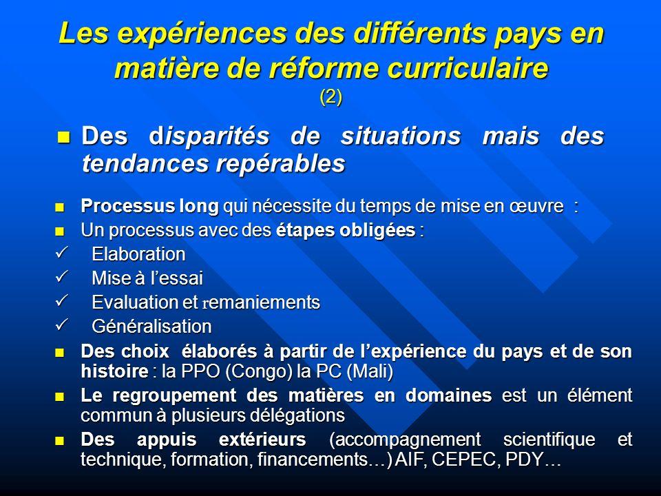 Les expériences des différents pays en matière de réforme curriculaire (2)
