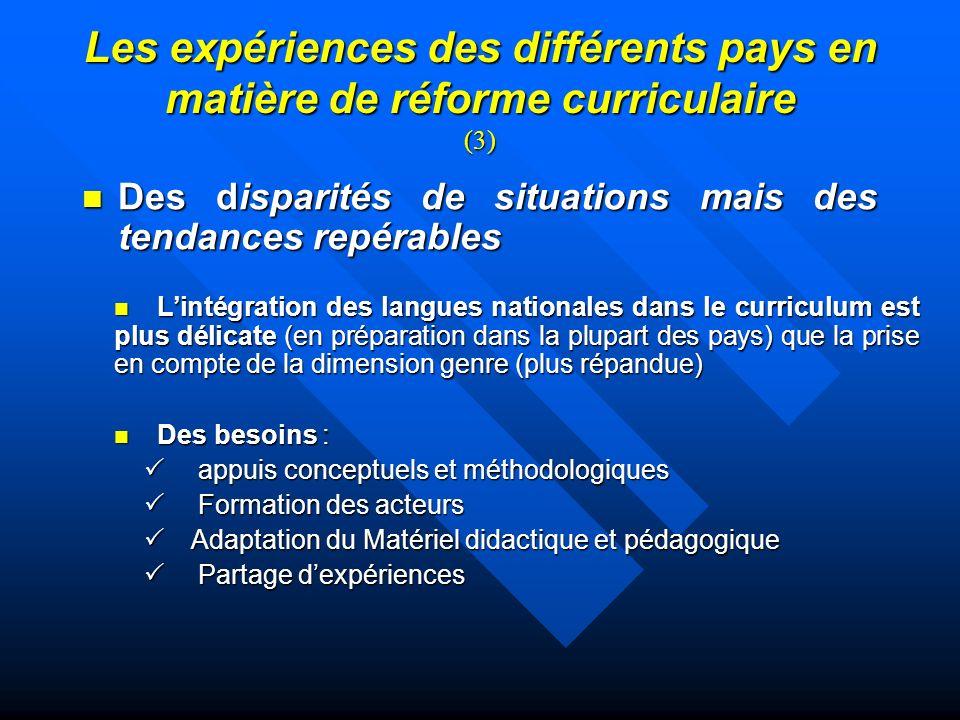 Les expériences des différents pays en matière de réforme curriculaire (3)