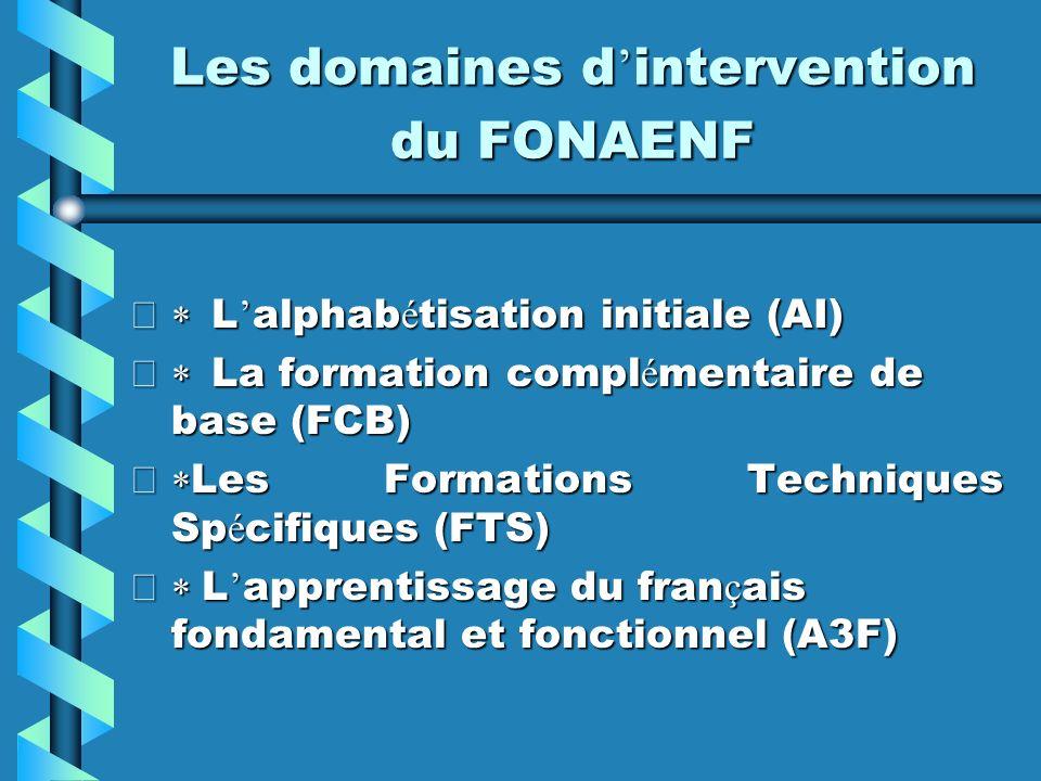 Les domaines d'intervention du FONAENF