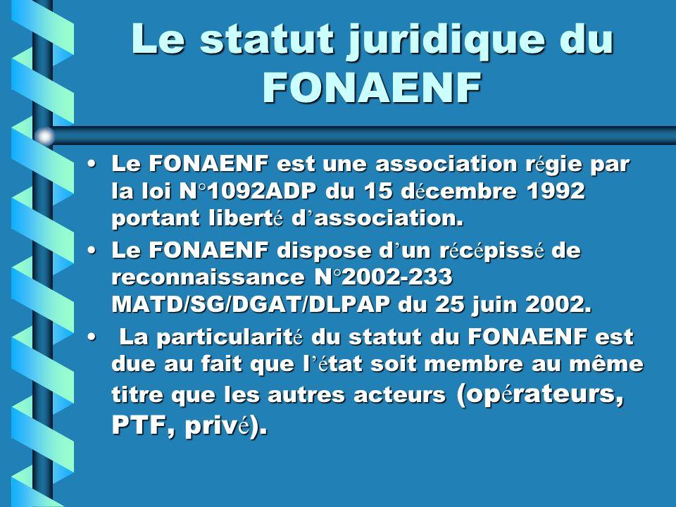 Le statut juridique du FONAENF