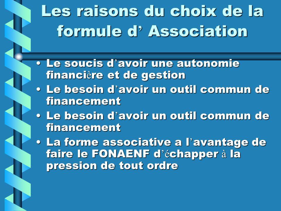 Les raisons du choix de la formule d' Association