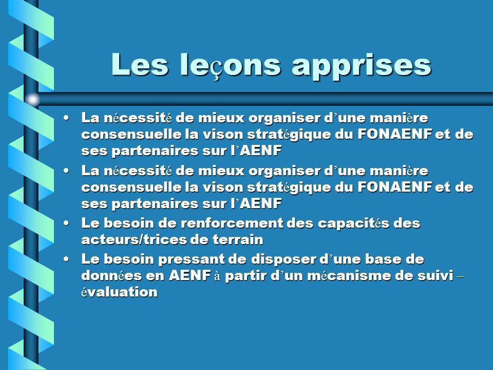 Les leçons apprises La nécessité de mieux organiser d'une manière consensuelle la vison stratégique du FONAENF et de ses partenaires sur l'AENF.