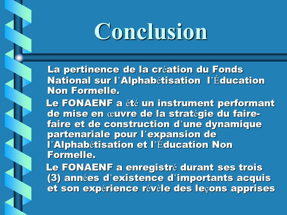 Conclusion La pertinence de la création du Fonds National sur l'Alphabétisation l'Éducation Non Formelle.