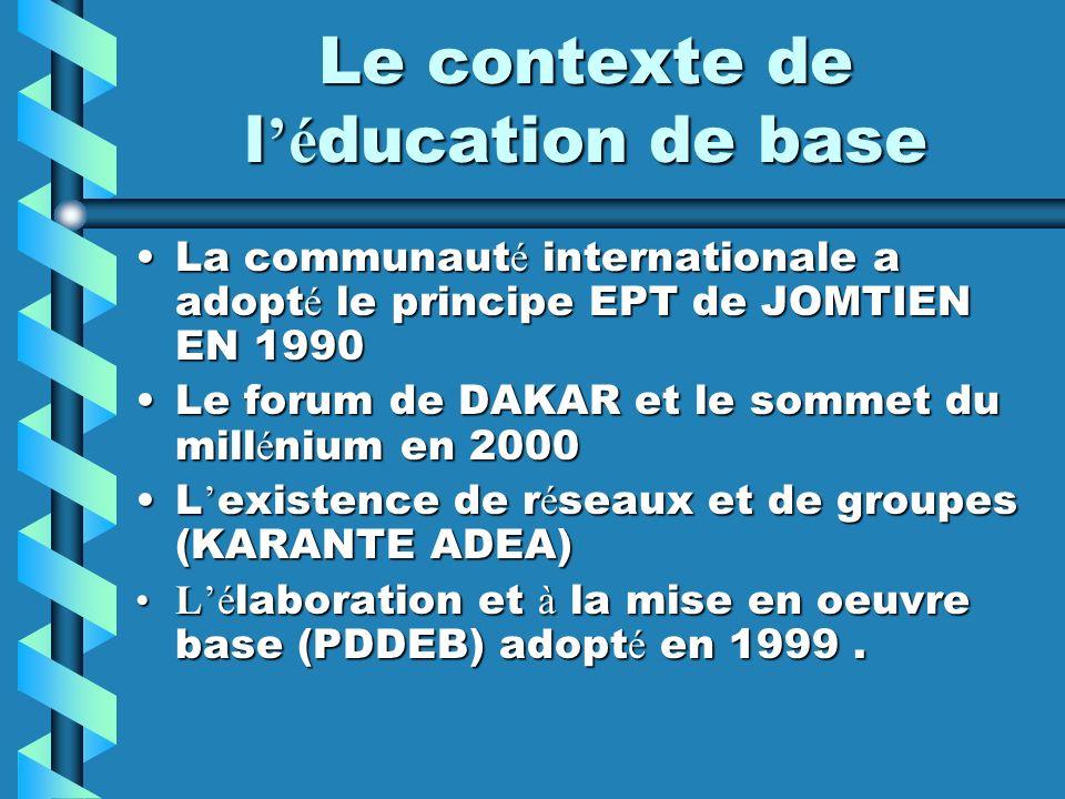 Le contexte de l'éducation de base