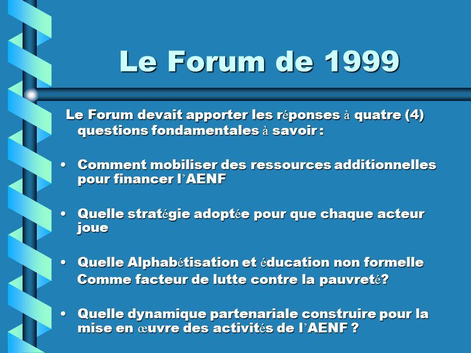 Le Forum de 1999 Le Forum devait apporter les réponses à quatre (4) questions fondamentales à savoir :