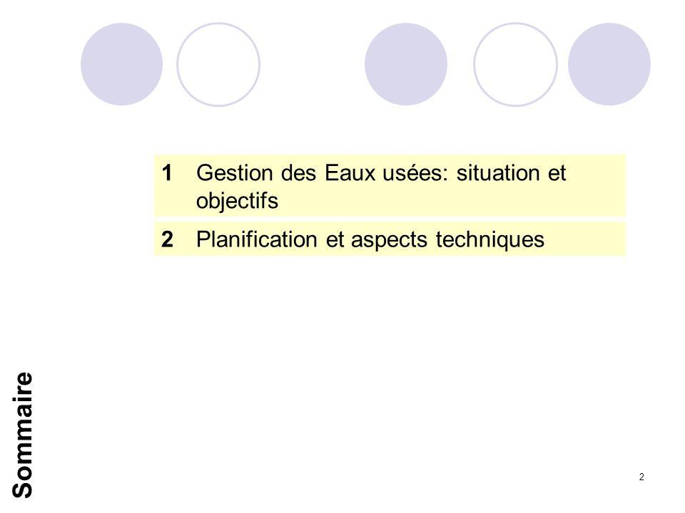 Sommaire 1 Gestion des Eaux usées: situation et objectifs
