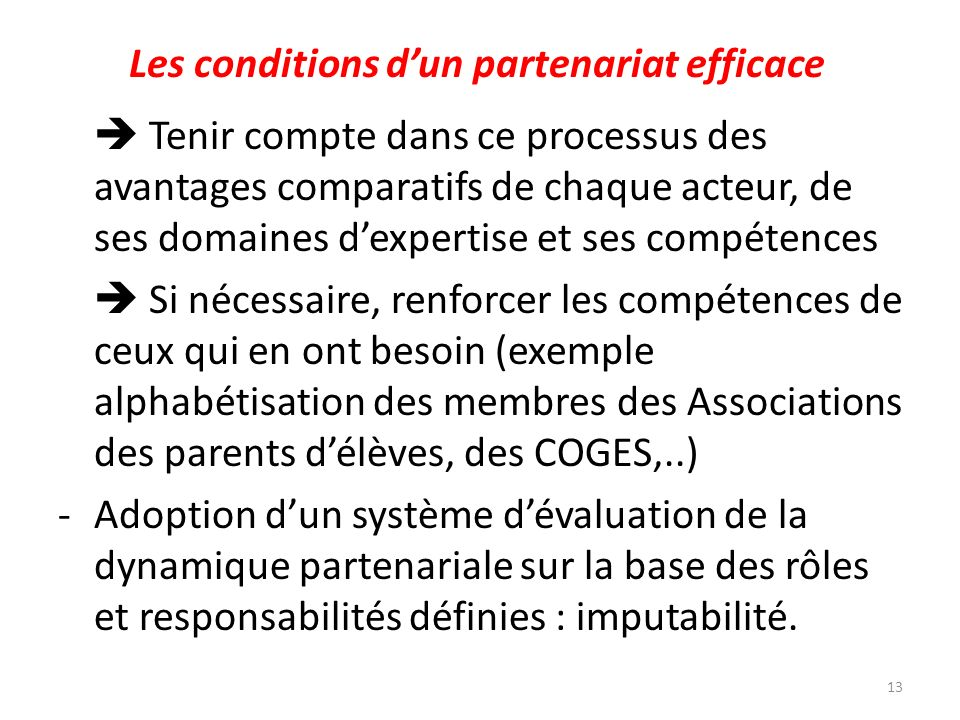 Les conditions d'un partenariat efficace