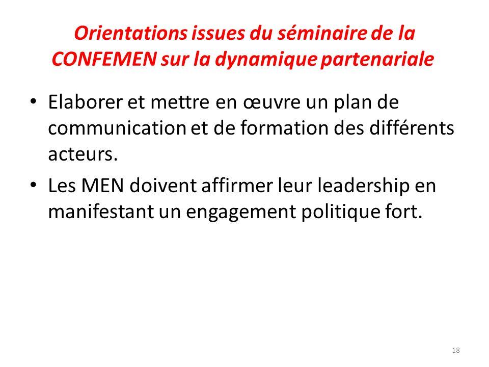 Orientations issues du séminaire de la CONFEMEN sur la dynamique partenariale