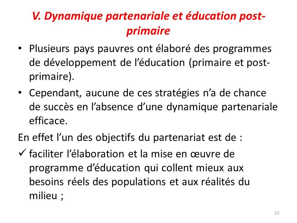 V. Dynamique partenariale et éducation post-primaire