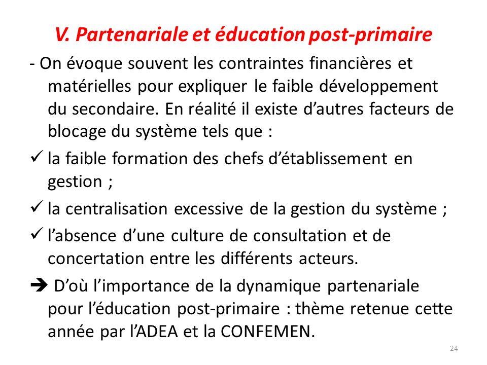 V. Partenariale et éducation post-primaire