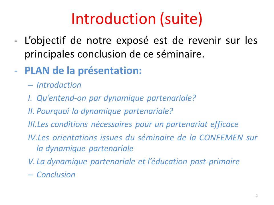 Introduction (suite) L'objectif de notre exposé est de revenir sur les principales conclusion de ce séminaire.