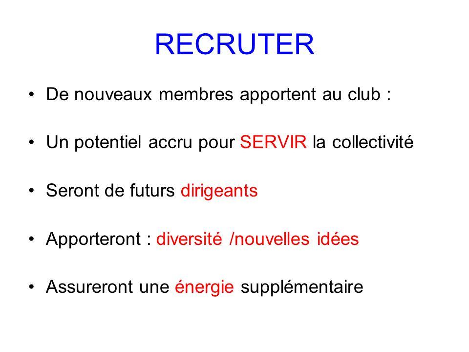 RECRUTER De nouveaux membres apportent au club :