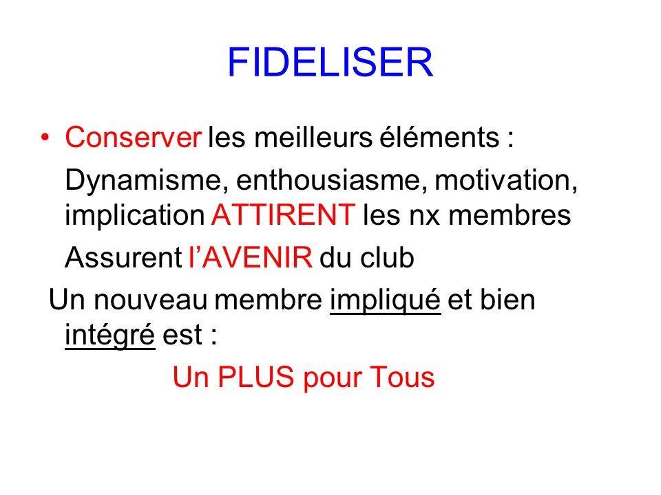 FIDELISER Conserver les meilleurs éléments :