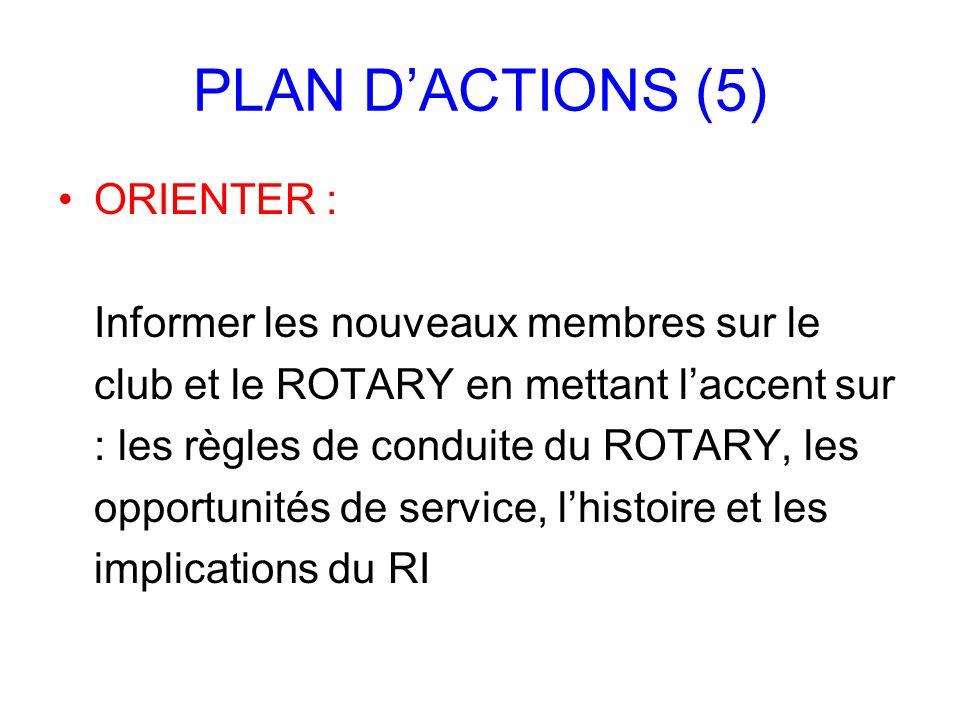PLAN D'ACTIONS (5) ORIENTER : Informer les nouveaux membres sur le