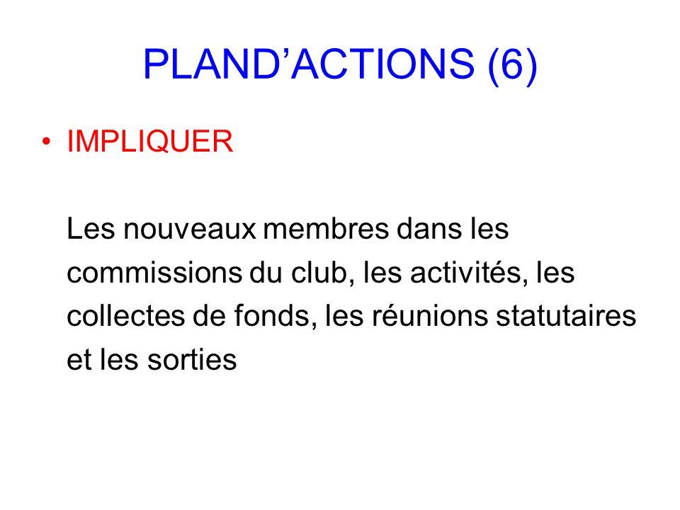 PLAND'ACTIONS (6) IMPLIQUER Les nouveaux membres dans les