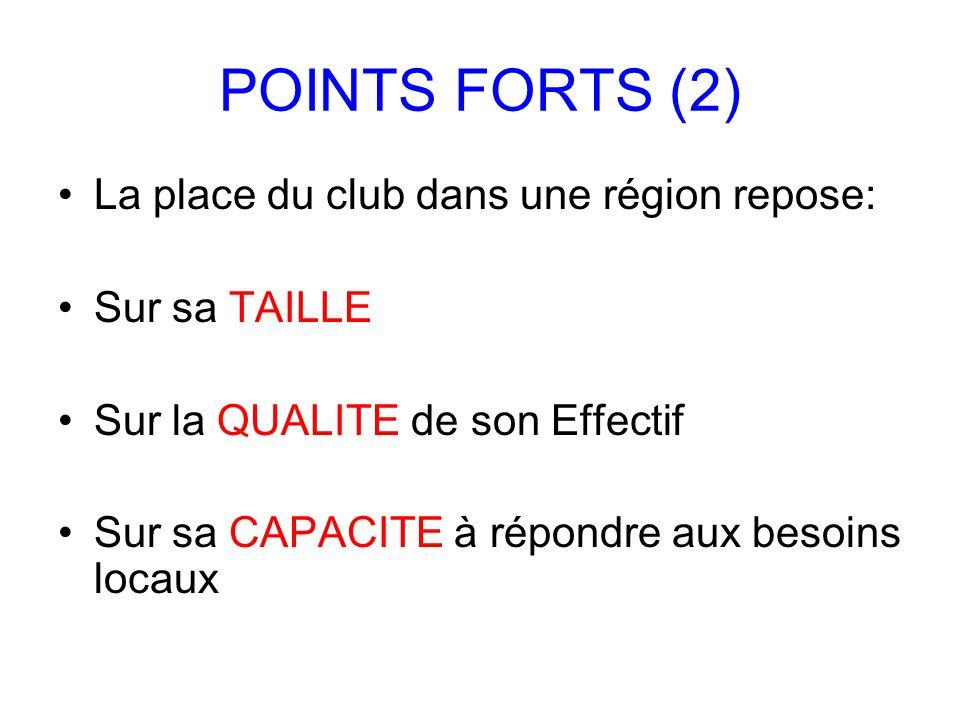 POINTS FORTS (2) La place du club dans une région repose: