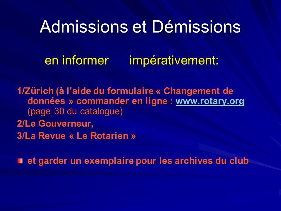 Admissions et Démissions