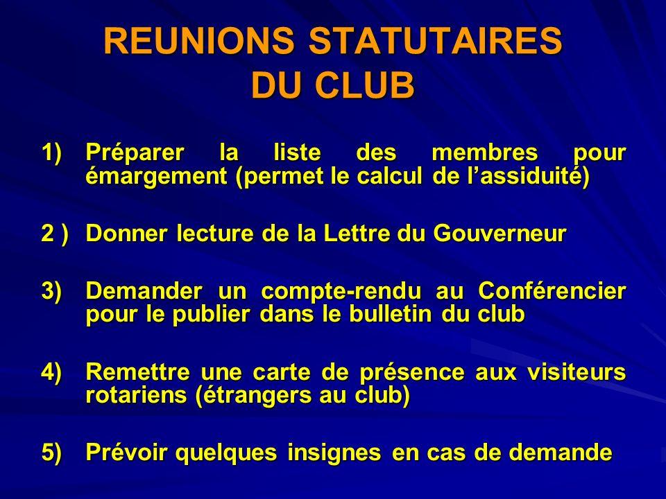 REUNIONS STATUTAIRES DU CLUB