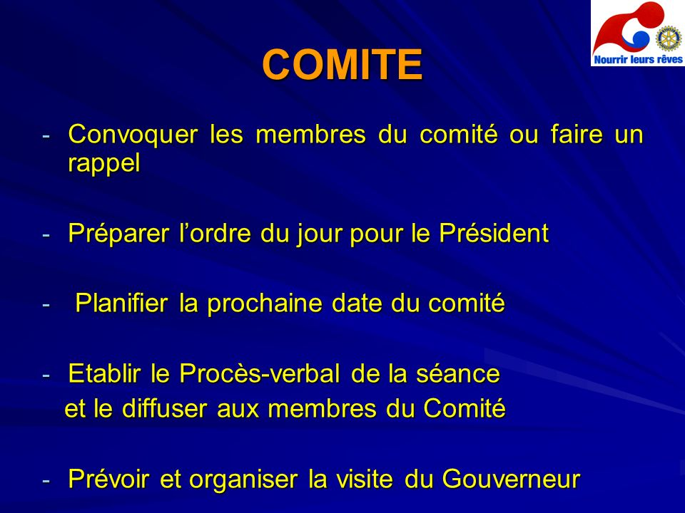 COMITE Convoquer les membres du comité ou faire un rappel